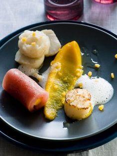 Gebakken coquille met tonijn sashimi en pompoen