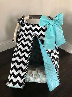 Super Cute Baby Car Seat Covers - CHEVRON in BLACK and Teal Minky - Fabric Bow - Baby Girl - Shower Gift by kitcarsonblue on Etsy https://www.etsy.com/listing/541602540/super-cute-baby-car-seat-covers-chevron
