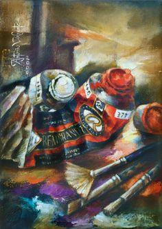 Antonio Valiente Medina  Pintura al oleo sobre lienzo de Lino, cuadro que fue la portada del catado spondyls  autor : Antonio Valiente Medina