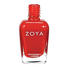 Zoya Nail Polish in Tamsen - Medium warm brick red with stron orange tones with opaque cream finish