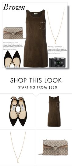 """Brown"" by shealwaysfashion ❤ liked on Polyvore featuring Jimmy Choo, Yves Saint Laurent, Minor Obsessions, Gucci and Nikon"