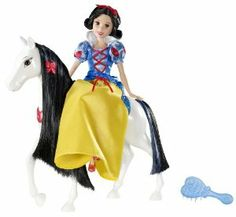 Disney Princess Sparkling Snow White Doll and Royal Horse by Mattel. $29.99. Gown features intricate glitter and sequin details; Princesses of Disney's favorite fairytales; Great gift idea; Dressed in beautiful signature gowns; Includes beautiful horse with shiny mane and glittery details. Disney Princess Sparkling Snow White Doll & Royal Horse: The beloved princesses from girls' favorite Disney fairy tales are dressed in a beautiful riding gown with intricate gl...