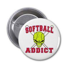 softball addict buttons