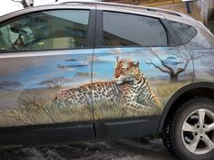 airbrush, painting, car, nissan, quashqai, leopard, side view