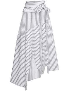 Shop JW Anderson striped asymmetrical midi skirt from our High-Waisted Skirts collection. Fashion Advice, Fashion Outfits, Womens Fashion, Stripe Skirt, White Skirts, Midi Skirt, Chiffon Skirt, High Waisted Skirt, Rock