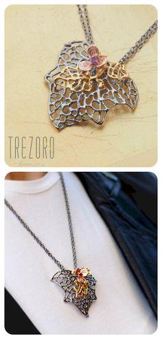 Necklace  ||  Oxidised Sterling Silver, Natural Rhodolite Garnet, Gold Plated Elements  ||  Modern Design