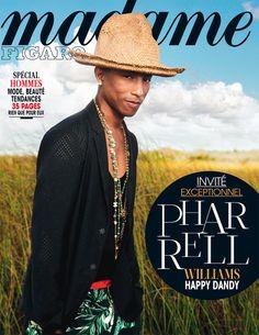 """Rendez-vous avec Pharrell Williams, rédacteur en chef du numéro de Madame Figaro """"Spécial Hommes"""". Couverture du 8 avril 2014"""