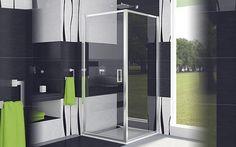 Paroi de douche avec porte pivotante et paroi fixe de SanSwiss AUPP + AUPF (Aubade : porte pivotante entre 378€ et 410€ selon les dimensions).