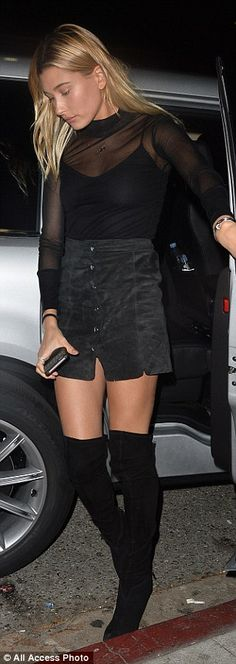 Who made Hailey Baldwin's black suede thigh high boots, mesh long sleeve top, gold jewelry, and suede skirt? Sheer Mesh Top, Black Mesh Top, Mesh Top Dress, Black Mesh Shirt, Black Sheer Top, Mesh Tops, Hailey Baldwin, Mesh Long Sleeve, Long Sleeve Tops