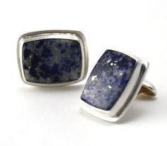 Cuff Links  Sterling Silver Blue Lapis and by studiometalsmith