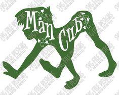 Man Cub Mowgli Silhouette Disney Word Art Cut File Set in SVG, EPS, DXF, JPEG, and PNG