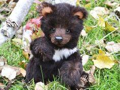 Уголек. Мишка Тедди в стиле натюр - чёрный,мишка,мишки тедди,мишка тедди