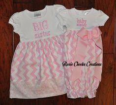 Long or Short Sleeve Big Sister Little by RosieCheeksCreations