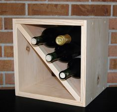 """12"""" by 10.75"""" Wood Wine Rack Square Diagonal Kitchen Bath Bedroom Storage Holds…"""