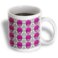 3dRose Day of the Dead Skull D?a de los Muertos Sugar Skull Print Pink, Ceramic Mug, 11-ounce