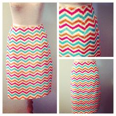 Ladies Chevron Pencil Skirt size 16 turquoise yellow orange on Etsy, $34.00