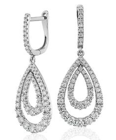 The exceptional sparkle of these diamond double open teardrop earrings is perfect for your wedding day or special occasion.