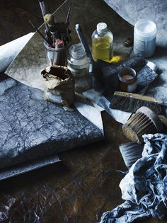 Matthew Collins' 'Sackcloth and Ash' wallpapers and materials.  Photo - Sharyn Cairns, styling - Glen Proebstel.