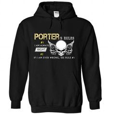 PORTER Rules - #funny tee shirts #transesophageal echo. BUY-TODAY => https://www.sunfrog.com/Valentines/PORTER-Rules-Black-Hoodie.html?id=60505
