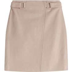 Steffen Schraut Leather Skirt ($390) ❤ liked on Polyvore featuring skirts, mini skirts, beige, fitted skirts, leather mini skirt, belted mini skirt, belted skirt i beige skirt