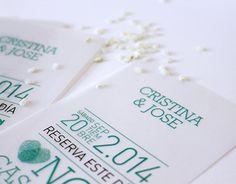 Diseño y realización de un tarjetón de boda para el enlace de Cristina & Jose._2014
