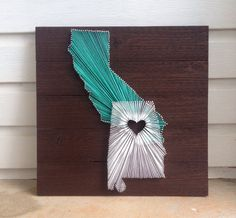 """Two State String Art on 17.5""""x17.5"""" Stained Wood- Customizable String Art"""