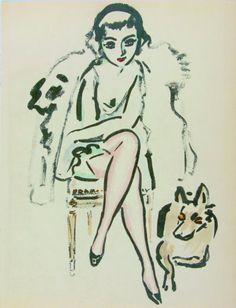 Kees van Dongen - Jeune femme au chiene (1925)