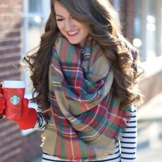 How to Wear Over Sized/Blanket Scarf Outfit Combinations Fall Winter Outfits, Autumn Winter Fashion, Winter Clothes, Fall Fashion, Latest Fashion, Southern Curls And Pearls, Plaid Blanket Scarf, Blanket Shawl, Tartan Scarf
