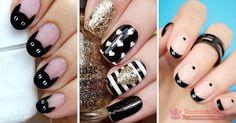 80 Diseñps de uñas decoradas en color negro Geometric Nail, Nail Spa, Cool Nail Art, Pretty Nails, Hair Beauty, Nail Polish, Make Up, Google, Nail Design