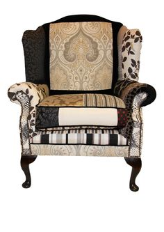 One off designed patch work chair by our very own genius upholstery team!