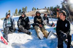 Hanging out with friends is one of the best parts of snowboarding. Keegan Valaika, Justin, Chris Bradshaw, and Joe Sexton at Bear Mountain #California p: T. Bird | Snowboarder Magazine