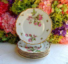 6 Beautiful Vintage Edelstein Bavarian Porcelain Salad Plates ~ Moss Rose ~ Gold #EdelsteinBavaria