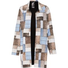 Norma Kamali - Reversible Patchwork-effect Stretch-jersey Coat (40.085 HUF) ❤ liked on Polyvore featuring outerwear, coats, multi, colorful coat, retro coat, norma kamali, blue coat and padded coat