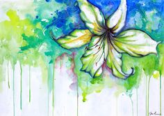 White Lily Original Watercolor Painting, Wall Decal