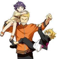 Naruto, father, Boruto, Himawari; Naruto