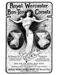"""Vintage Lingerie This vintage advertisement for Royal Worcester Bon-Ton Corsets is from the October 1902 issue of """"The Delineator"""" magazine Vintage Labels, Vintage Ads, Vintage Images, Vintage Posters, Vintage Ephemera, Vintage Wood, Vintage Sewing, Vintage Corset, Victorian Corset"""