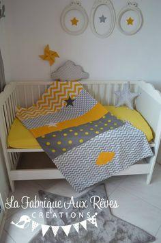 couverture bébé jaune gris chevron pois étoiles lune nuage géométrique polaire minky