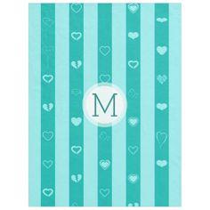Monogram Turquoise Stripes Modern Heart Pattern Fleece Blanket - girly gifts special unique gift idea custom