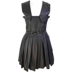 Pre-owned Preen Leather Mid-Length Dress ($315) ❤ liked on Polyvore featuring dresses, black, women clothing dresses, metallic dress, leather cocktail dress, a line dress, a line cocktail dress and strap dress