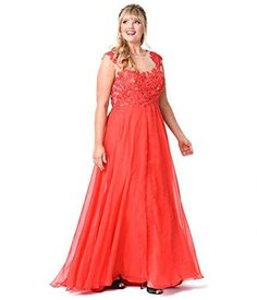 Plus Size Red Beaded Lace Mesh Cap Sleeve Long Dress for Prom 2017 ** See this great product.