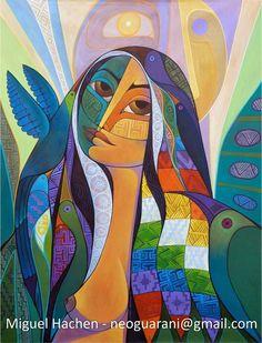 """""""La América Morena"""" es una obra que fue realizada especialmente para ilustrar la portada de la segunda edición del libro sobre """"Los Derecho... Abstract Art Painting, Cubism Art, Art Painting, Native American Art, Art Drawings, Mural Art, Illustration Art, Art, Interesting Art"""