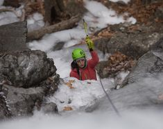 The cliffs and crags of Maine's Camden Hills have become a favored spot for ice climbing. Lead Climbing, Indoor Climbing, Ice Climbing, Acadia National Park, National Parks, Orono Maine, Maine Winter, Camden Maine, Visit Maine