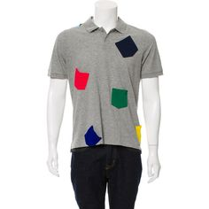Pre-owned Band of Outsiders Short Sleeve Polo Shirt ($45) ❤ liked on Polyvore featuring men's fashion, men's clothing, men's shirts, men's polos, grey, colorful mens dress shirts, mens gray dress shirt, men's spread collar dress shirts, mens polo shirts and mens grey shirt