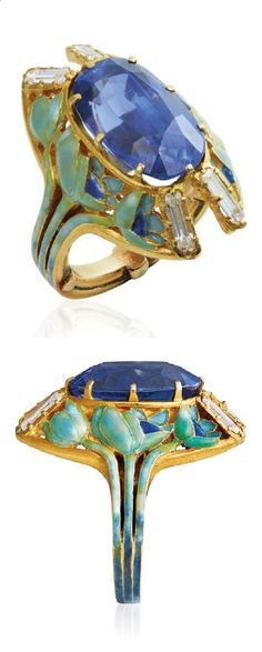 RENÉ LALIQUE - AN ART NOUVEAU SAPPHIRE, ENAMEL AND DIAMOND RING, CIRCA 1900. Centring an oval-cut sapphire to the openwork surround and hoop depicting poppy flowers in green and blue enamel, with diamond accents, mounted in gold, signée Lalique.