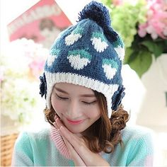 Flower ear protection knit beanie hat ball on top Strawberry winter hats for girls