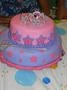 #Super #Cute #Girly #Princess #Birthday #Cake the coolest auntie made! :) #Tiara #Wand #Pink #Stars #EdnaCakeCreations