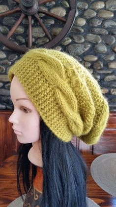 e5f12136a7f Women Lime Green Cable Knit hat-Winter Cable knit Hat