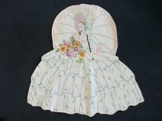 Vintage embroidered crinoline lady with pocket - nightdress case, peg bag | eBay