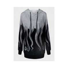 Octopus Print Drawstring Black and Grey Hoodie ($15) ❤ liked on Polyvore featuring tops, hoodies, black and grey hoodie, hooded sweatshirt, octopus print hoodie, hoodie top and hooded pullover