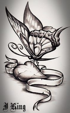 Butterfly Heart Jk by J-King-21.deviantart.com on @deviantART Would like a tattoo similar to this..